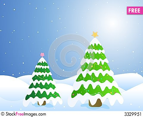 Free Christmas Trees / Card Stock Image - 3329951