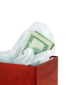 Free Money In Red Gift Box Royalty Free Stock Photos - 3320078