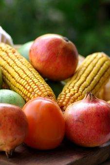 Free Yellow Corn And Fruits. Royalty Free Stock Photography - 3320167