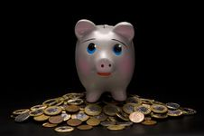 Piggy Bank With Money Royalty Free Stock Photo