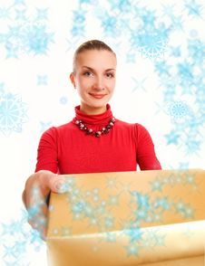 Girl With A Gift Box Stock Photography