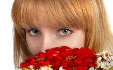 Free Green Eyes And Flowers Royalty Free Stock Photography - 3322007