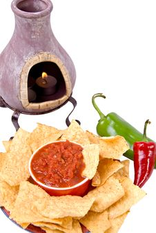 Free Candle With Chips And Salsa Royalty Free Stock Photos - 3322018