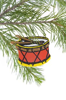 Free Hand Painted Wood Drum Christm Stock Photography - 3322102