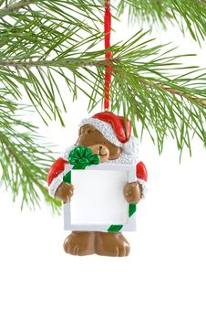 Free Santa Bear Ornament With Sign Stock Image - 3322141