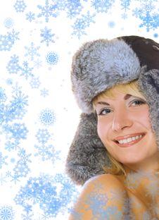 Girl In Winter Fur-cap Royalty Free Stock Photo