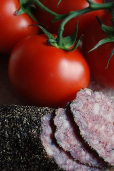 Free Salami And Tomatoes Stock Photo - 3328360