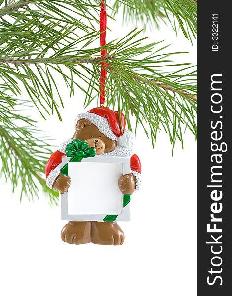 Santa Bear Ornament with Sign