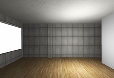 Empty Interior With Bare Concrete Wall And Wood Floor Royalty Free Stock Image