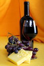 Free Emmental Cheese With Wine And Grapes Stock Images - 33224954