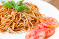 Free Spaghetti With Pork Tomato Sauce Stock Images - 33228734