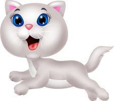 Free Cute White Cat Cartoon Running Stock Photos - 33231023