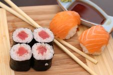 Free Its A Sushi Time With Wasabi And Soy Sauce Stock Images - 33231514