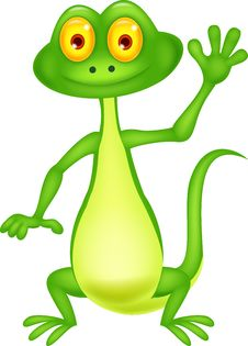 Free Cute Green Lizard Cartoon Waving Hand Stock Image - 33231631