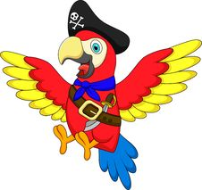 Free Cute Parrot Pirate Cartoon Royalty Free Stock Photo - 33231935