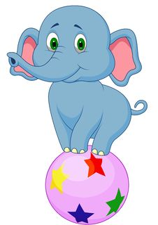 Cute Elephant Cartoon Standing On A Colorful Ball Stock Images