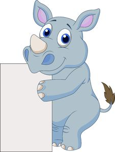 Free Cute Rhino With Blank Sign Royalty Free Stock Images - 33233499