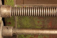 Part Of The Old Lathe. Stock Photo