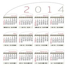 Free Calendar 2014 Elegant Royalty Free Stock Photos - 33236098