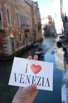 Free I Love Venezia Postcard Stock Photography - 33237022