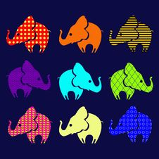 Free Set Of Ornamental Elephants Stock Photo - 33243280