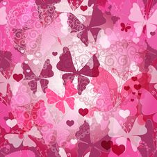 Free Seamless Valentine Pattern With Butterflies Royalty Free Stock Photo - 33256435