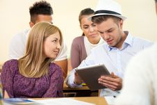 Free Student With Tablet On Class Stock Photos - 33257603