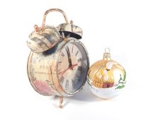 Free Clock  And Christmas Decoration Royalty Free Stock Photos - 33262188