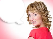 Free Portrait Of The Woman With A Painted Cloud Note Royalty Free Stock Images - 33262399