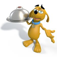 Free Brown Cartoon Dog Waiter Stock Photo - 33263890