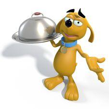Brown Cartoon Dog Waiter Stock Photo