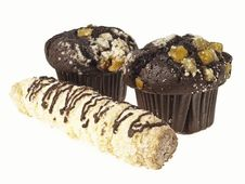 Choco Muffin And Cream Horn Royalty Free Stock Images