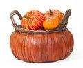 Free Pumpkins In Straw Basket Royalty Free Stock Photo - 33272165