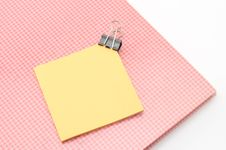 Free Red Notebook With Post It And Bulldog Clip Isolated On White Stock Image - 33270851