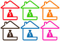 Free Set Houses With Money Bag Royalty Free Stock Photos - 33294208