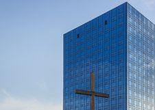Modern Office Building And Cross Stock Images