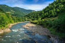 River Meanders Goe In Mountains Stock Photography