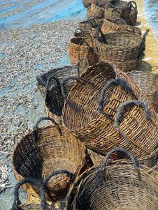 Free Empty Fishing Baskets Royalty Free Stock Photography - 3330807