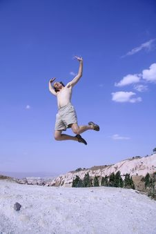 Free Healthy Happy Man Jumping Royalty Free Stock Image - 3330956