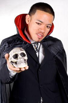 Skull And Scary Dracula Stock Photos