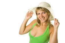 Free Young Tanned Woman In Hat Royalty Free Stock Photo - 3332315