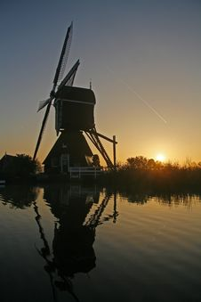 Reflection Of A Windmill Stock Photos