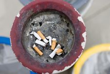 Pile Of Smoked Cigarettes. Royalty Free Stock Photos