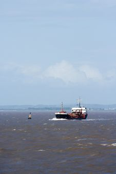 Ship In The Bristol Channel Royalty Free Stock Image