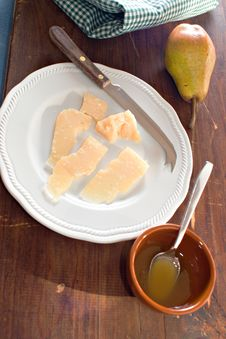 Cheese, Honey And Pear Royalty Free Stock Photos