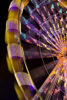 Free Illuminated Night Time Wheel Stock Image - 3335641