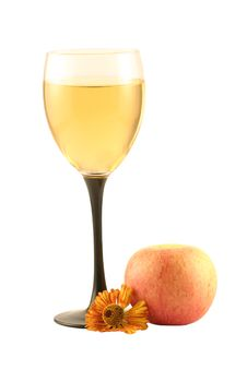Free Glass Of  Wine And An Apple Stock Photos - 3339593