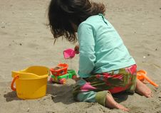Free Little Girl, Sand And Toys Royalty Free Stock Photography - 3339997
