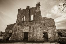 Facade Of Old Church, Tuscany Stock Photo