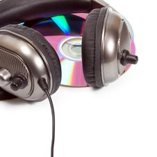 Headphones On Music Disk CD, DVD Stock Photos